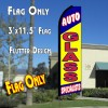 AUTO GLASS SPECIALISTS (Blue/Yellow) Flutter Feather Banner Flag (11.5 x 3 Feet)