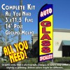 AUTO GLASS SPECIALISTS (Blue/Yellow)  Flutter Feather Banner Flag Kit (Flag, Pole, & Ground Mt)