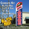AUTO INSURANCE (Red/White/Blue) Flutter Feather Banner Flag Kit (Flag, Pole, & Ground Mt)