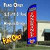 AUTO INSURANCE (Blue/Red) Windless Polyknit Feather Flag (2.5 x 11.5 feet)