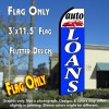 AUTO LOANS (White/Blue) Flutter Feather Banner Flag (11.5 x 3 Feet)