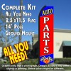 AUTO PARTS (Blue/Red) Flutter Feather Banner Flag Kit (Flag, Pole, & Ground Mt)
