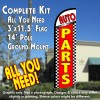 Auto Parts (Checkered) Windless Feather Banner Flag Kit (Flag, Pole, & Ground Mt)