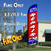 AUTO REPAIR (Blue/Red) Windless Polyknit Feather Flag (2.5 x 11.5 feet)
