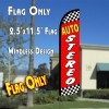 AUTO STEREO (Checkered/Red) Windless Polyknit Feather Flag (2.5 x 11.5 feet)