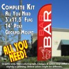 Bar (Red/White) Windless Feather Banner Flag Kit (Flag, Pole, & Ground Mt)