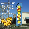 BARBER (Blue/Yellow) Windless Feather Banner Flag Kit (Flag, Pole, & Ground Mt)
