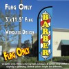 BARBER (Blue/Yellow) Windless Polyknit Feather Flag (3 x 11.5 feet)