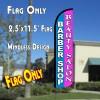 BARBER SHOP/BEAUTY SALON (Blue/Pink) Windless Polyknit Feather Flag (2.5 x 11.5 feet)