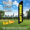 Batteries (Black/Yellow) Windless Polyknit Feather Flag Only (3 x 11.5 feet)