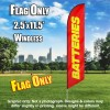 Batteries (Red/Yellow) Windless Polyknit Feather Flag Only (3 x 11.5 feet)