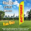 Batteries (Yellow/Red) Windless Polyknit Feather Flag Only (3 x 11.5 feet)