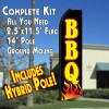 BBQ w/Flame  Feather Banner Flag Kit (Flag, Pole, & Ground Mt)