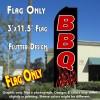 BBQ (Flames) Flutter Feather Banner Flag (11.5 x 3 Feet)
