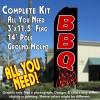 BBQ (Flames) Flutter Feather Banner Flag Kit (Flag, Pole, & Ground Mt)