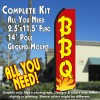 BBQ (Red/Yellow/Flames) Flutter Feather Banner Flag Kit (Flag, Pole, & Ground Mt)