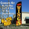 BBQ Wings Windless Feather Banner Flag Kit (Flag, Pole, & Ground Mt)