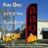 BBQ (Yellow Flames) Flutter Feather Banner Flag (11.5 x 3 Feet)