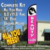 BEAUTY SALON (White/Pink) Windless Feather Banner Flag Kit (Flag, Pole, & Ground Mt)