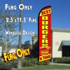 BEST BURGERS IN TOWN Windless Polyknit Feather Flag (2.5 x 11.5 feet)