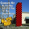 Checkered RED/BLACK Flutter Feather Banner Flag Kit (Flag, Pole, & Ground Mt)