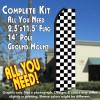 Checkered BLACK/WHITE Flutter Feather Banner Flag Kit (Flag, Pole, & Ground Mt)