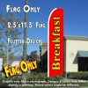 BREAKFAST (Red) 2.5 Flutter Feather Banner Flag (11.5 x 2.5 Feet)