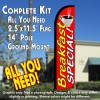 BREAKFAST SPECIAL! (Horizontal) Windless Feather Banner Flag Kit (Flag, Pole, & Ground Mt)