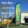 BURGERS (Blue/Yellow) Windless Polyknit Feather Flag (2.5 x 11.5 feet)