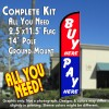 BUY HERE PAY HERE (Blue/Red) Windless Feather Banner Flag Kit (Flag, Pole, & Ground Mt)