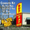 Buy Here Pay Here Windless Feather Banner Flag Kit (Flag, Pole, & Ground Mt)
