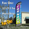 CAR WASH (Free Vacuum) Windless Polyknit Feather Flag (2.5 x 11.5 feet)
