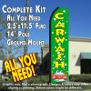 CAR WASH (Green/Yellow) Flutter Feather Banner Flag Kit (Flag, Pole, & Ground Mt)