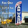 Car Wash (Patriotic) Windless Polyknit Feather Flag (3 x 11.5 feet)