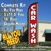 Car Wash (Red/Checkered) Windless Feather Banner Flag Kit (Flag, Pole, & Ground Mt)