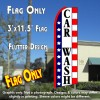 CAR WASH (Stars & Stripes) Flutter Feather Banner Flag (11.5 x 3 Feet)