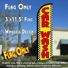 Car Wash (Yellow/Checkered) Windless Polyknit Feather Flag (3 x 11.5 feet)