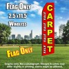 Carpet Sale (Red/Yellow & White Letters) Flutter Feather Flag Only (3 x 11.5 feet)