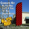 Checkered BLACK/RED Windless Feather Banner Flag Kit (Flag, Pole, & Ground Mt)