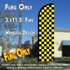 Checkered BLACK/YELLOW Windless Polyknit Feather Flag (3 x 11.5 feet)