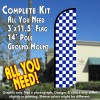 Checkered BLUE/WHITE Windless Feather Banner Flag Kit (Flag, Pole, & Ground Mt)