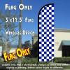 Checkered BLUE/WHITE Windless Polyknit Feather Flag (3 x 11.5 feet)