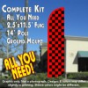 Checkered RED/BLACK Windless Feather Banner Flag Kit (Flag, Pole, & Ground Mt)