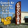 Chocolate Windless Feather Banner Flag Kit (Flag, Pole, & Ground Mt)