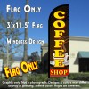 Coffee Shop (Brown/Yellow) Windless Polyknit Feather Flag (3 x 11.5 feet)