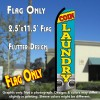COIN LAUNDRY (Blue/Yellow) Flutter Polyknit Feather Flag (11.5 x 2.5 feet)