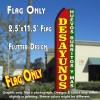 DESAYUNOS Huevos Burritos Y Mas (Red/Green) Flutter Polyknit Feather Flag (11.5 x 2.5 feet)