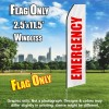 Emergency (White/Red) Econo Feather Banner Flag