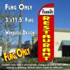 Family Restaurant (White/Red) Windless Polyknit Feather Flag (3 x 11.5 feet)