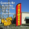 FIREWORKS (Red) Windless Feather Banner Flag Kit (Flag, Pole, & Ground Mt)